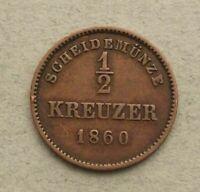 German states 1/2 kreuzer 1860   ao165