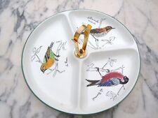 Serviteur mendiant faïence Gien décor oiseaux bouvreuil tarin la rousserolle