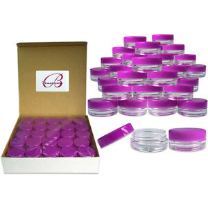 50 Pack 3 Gram/ML Purple Lid Plastic Makeup Cosmetic Cream Sample Jar Containers