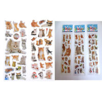 3 Sheets Kawaii Cats Animals Scrapbooking Bubble Puffy Stickers Reward Kids-YH