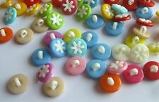 "Lot of 10 FLOWER Plastic Shank Buttons 9/16"" (14mm) Scrapbook Crafts (0142)"