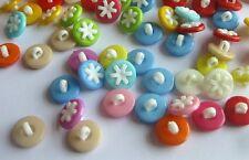 "Lot of 10 FLOWER Plastic Shank Buttons 9/16"" (14mm) Scrapbook Crafts (0142)"