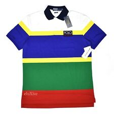 NWT Polo Ralph Lauren Men's HI-TECH Logo Retro Striped Shirt S FW18 DS AUTHENTIC