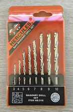 Worldwide Hercules 8PC Piece Masonry Drill Bit Set - 3, 4, 5, 6, 7, 8, 9, 10mm