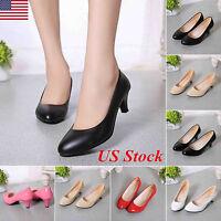 Womens Ladies Low Mid Kitten Heels Bridal Office Work Stiletto Pumps Court Shoes