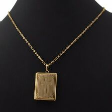 Cross Pendant Photo Picture Frame Locket Necklace Gift 18K Gold/Platinum Plated