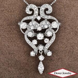 Estate 2.30ct Diamond 14K Gold Elegant Filigree Dangle Pin Pendant 8.1 Grams NR