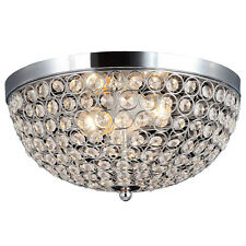 Ellipse Ceiling Flush Mount 2 Light Fixture Chrome Bed Room Metal Crystal Shade