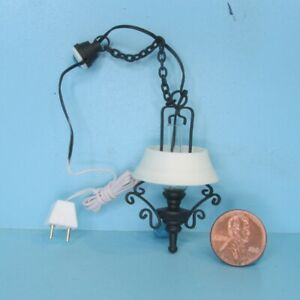 Dollhouse Miniature 12v Electric Ornate Hanging Kitchen Light in Black MH1035