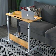 Simple Rolling Sofa Bed Side Table Laptop Desk Tray Stand Adjustable Height US