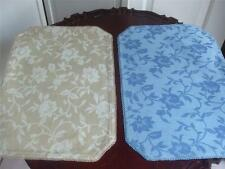"2 Reversible Fabric Placemats Floral Blue Beige color Pair 19"" x 13"" New"