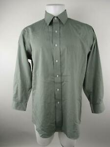 Stafford Men 16 1/2 Gray Cotton Polyester Broadcloth Striped Button-Front Shirt