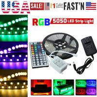 Full Kit 5M RGB 5050 Non Waterproof LED Strip light SMD 44 Key Remote 12V Power
