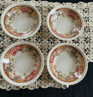 4 Johnson Bros Devonshire Fruit Sauce Bowls, Pat. 118579, Gadroon Edge Vy Gd
