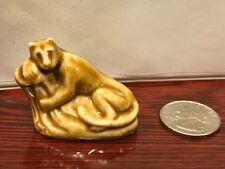 Tan LEMUR Monkey by WADE England Miniature Figurine Glaze Red Rose Tea 1970's