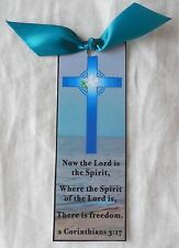 Easter Bookmark Cross & Dove Now the Lord is Spirit Handmade New Inspirational