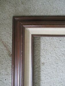 "Vintage Mid Century Modern Wood & Fabric picture frame fits 20"" x 24"" home decor"