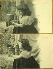 Kitten/Cat & Little Girl: Pair of 1904 French Postcards, 'Le Favori'