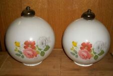 Set of 2 Antique Vintage Flower Light Fixture Globes