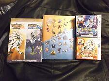 POKEMON SUN & MOON 3DS GAMES W/ LUNALA &SOLGALEO FIGS + COL. ED. POKEDEX & GUIDE