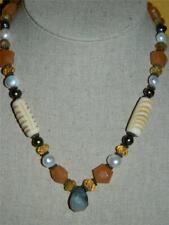 Hand Crafted Semi-Precious Beaded Stone Necklace Honey Jade,Citrine,Pearl,Jasper