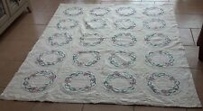 Vintage White Bedspread with floral design Cotton 79x64