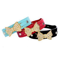 Hot Sell Pet Puppy Cat Collar Bling Crystal Leather Bow Necklace Dog Collars New