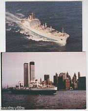 BlueStar Line CargoShip TownsvilleStar + LG Ship NewYork Harbor TwinTowers 1970s