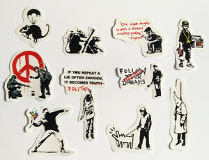 Banksy Sticker Set on CLEAR Vinyl Decal Pack Car Street Art Graffiti Skate Rat