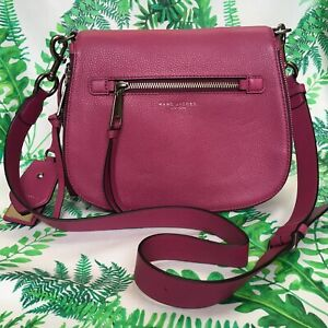"""Large 9"""" height MARC JACOBS Crossbody Recruit Nomad in Wild Berry Pink"""