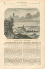 Panorama Borgo Velino Borghetto Rieti Latium Italie Dessin Saglio GRAVURE 1867