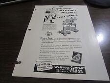 VINTAGE - WATEROUS CO - FIRE PUMPS - SALESMENS 1950 FIRE ENGINEERING REPRINT