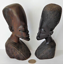 """Pair of African ebony heads Man and woman tribal wood carving folk art 6"""" tall"""
