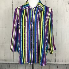 Diane Gilman L Top Silk Button Down Shirt Stripe Sequins Purple Green Side Split