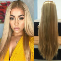 Femme Blonde Long Perruque Cheveux Lisses Synthétiques Cosplay Hair Wig +  S