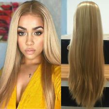 Femme Blonde Long Perruque Cheveux Lisses Synthétiques Cosplay Hair Wig +
