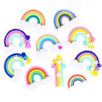 1/5/10X Rainbow Fimo Flatback Buttons Craft Appliques DIY Microlandschaft Acces