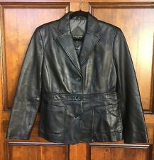 Valerie Stevens Black Genuine Lamb Leather Soft Short Lined Jacket Sz PM