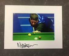 An 8 x 6 inch mount with photo signed by Snooker Player Matthew Stevens. (1).