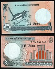 Bangladesh 2 Taka Bank Note Currency Magpie Bird, Monument, 2009, NEW, UNC