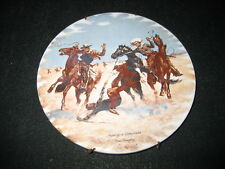 "Frederic Remington H & R Johnson Ltd Round Tile Western Art Made in England 6"""