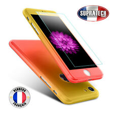 Coque Complète Bicolore Jaune et Orange avec Verre pour Apple iPhone 7