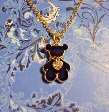 Teddy Bear Charm Rhinestone Gold Chain Necklace**~Free Ship