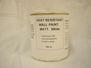 1 x 500ml Matt White Heat Resistant Wall Paint For Wood Burner Stove Alcove.