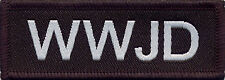 WWJD What Would Jesus Do? Badge Patch Christian 7cm x 2.5cm Black and White