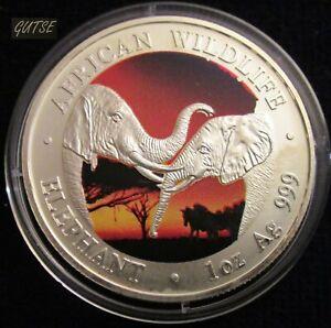 ZAMBIA, 5000 KWACHA 2002, TWO ELEPHANTS, SILVER, MATT FINISH, UNCIRCULATED.