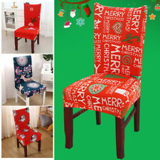 Printed Elastic Stretch Chair Cover Protector Seat Slipcover for Christmas Decor
