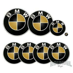 For BMW Badges - Gloss Black & Gold - All Models Decals Wrap Stickers Overlays