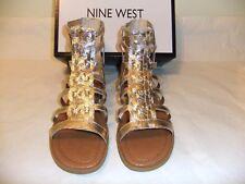 NINE WEST Xeron Gold Metallic Leather Gladiator Strappy Sandal Zip SZ 8.5 NIB 90