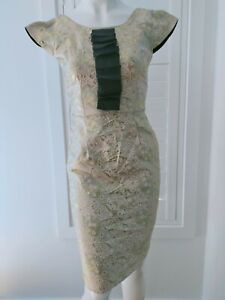 ALANNAH HILL Drama Queen Frock Size 8 Gold Foil Floral Print Black XS S Cocktail